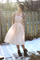 dark gray lita Jeffrey Campbell heels - light pink moms old dress vintage dress