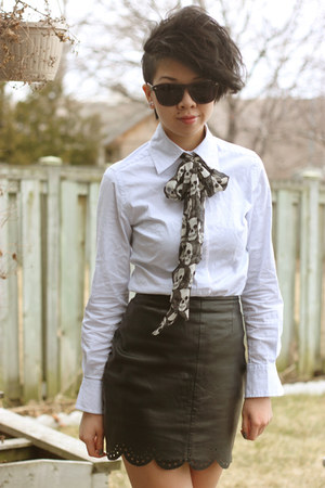 light blue button up shirt - charcoal gray skull scarf scarf - white thigh highs