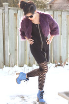 blue glitter shoes L&B boots - black Stitches dress - purple faux fur Forever 21