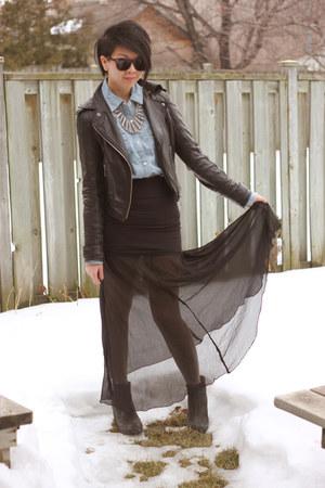 black UB jacket - light blue denim button up blnts shirt - black L&B skirt - sil