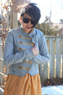 Mustard-moms-old-dress-vintage-dress-light-blue-h-m-jacket-maroon-zenni-opti