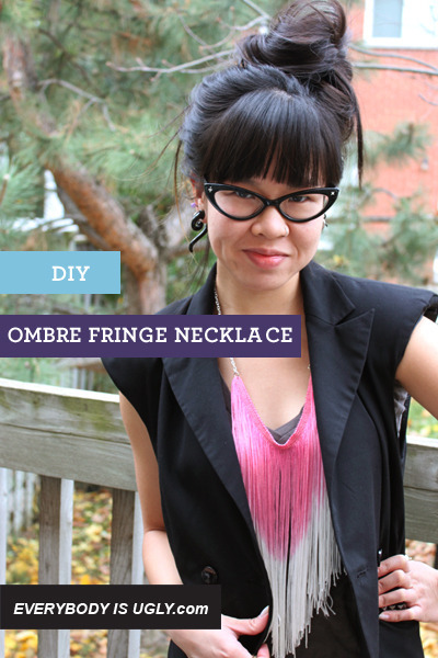 bubble gum fringe necklace
