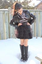 black Aldo boots - black motojacket H&M jacket - black L&B bodysuit