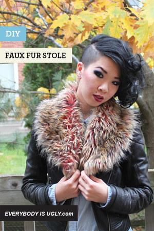 peach faux fur stole scarf