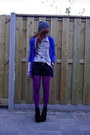 Amethyst-tights-dark-gray-suede-v-d-shorts-blue-h-m-cardigan