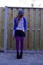 Amethyst-tights-dark-gray-suede-v-d-shorts-blue-h-m-cardigan