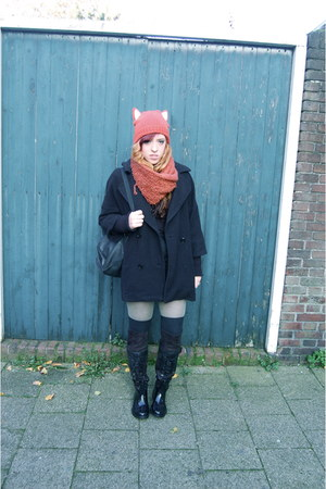 carrot orange fox ears H&M hat - black knee high unbranded boots