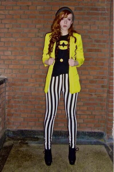white Ebay leggings - yellow New Yorker blazer - black batman shirt