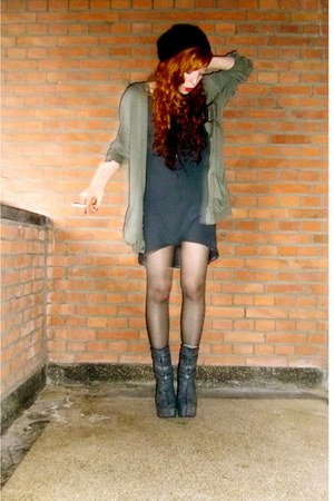 dark gray dragon tattoo H&M boots - charcoal gray dress