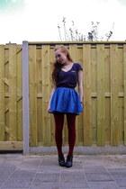 blue denim H&M skirt - dark gray stone wash Tally Weijl shirt