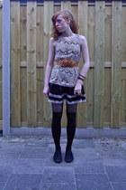 black Primark shoes - cream lace dress - camel Ebay belt