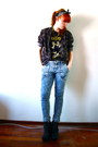 Yellow-boyfriends-led-zeppellin-t-shirt-blue-acid-wash-wholesaledressnet-jeans