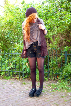 black suede Creeper shoes - black skull studs lovelyladycloset shorts