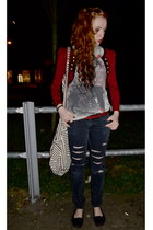 red military jacket - black ripped H&M jeans - heather gray boyfriends shirt
