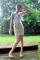 aztec skirt - white Forever 21 top