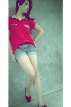 red custom made loafers - jeans Forever 21 shorts