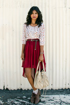 crimson high low Sheinside skirt - camel woven melie bianco bag