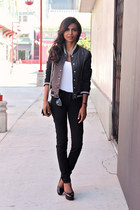 black super skinny JCPenney jeans - black bomber JCPenney jacket