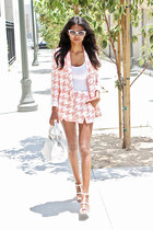 light pink dogtooth Missguided blazer - light pink dogtooth Missguided shorts