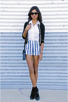 teal stripe romwe shorts