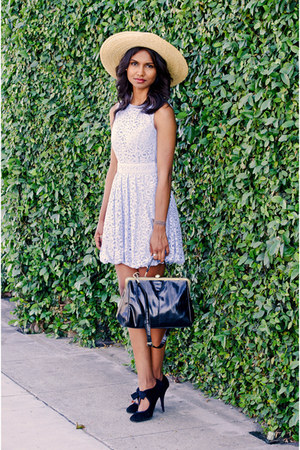 periwinkle lace Dress dress - bronze bow hat hat - black black luluscom bag