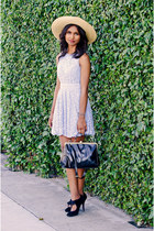 bronze bow hat hat - periwinkle lace Dress dress - black black luluscom bag