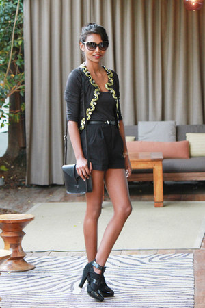 black baroque asos jacket - black buttons hm shorts