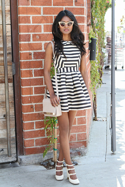 navy stripes asos dress