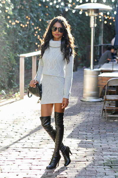 heather gray knit Missguided top - black thigh high Stella McCartney boots
