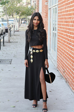 black slit Motel Rocks skirt
