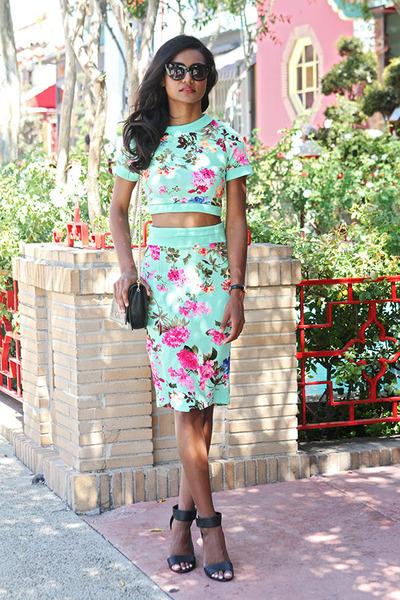 aquamarine floral Vesper top - aquamarine floral Vesper skirt