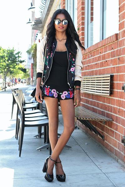 black ankle strap asos shoes - black embroidered Missguided jacket
