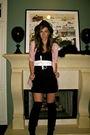 Pink-h-m-shirt-white-sportsgirl-belt-black-vintage-boots-black-topshop-soc