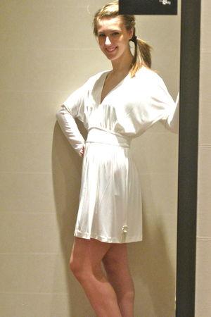 white Halston dress