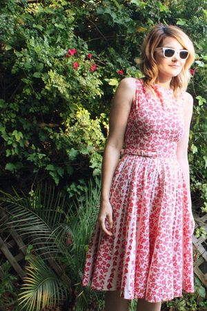 red vintage dress - beige Urban Outfitters shoes - white old ray bans sunglasses