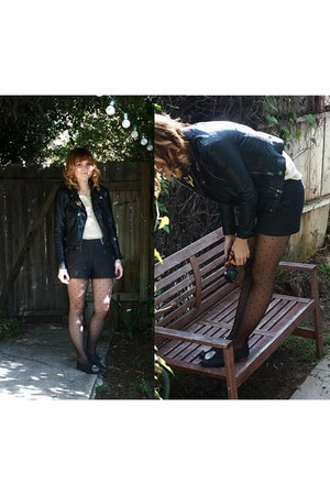 dotted Nordstrom tights - tweed H&M shorts - sheer Urban Outfitters blouse