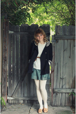 teal H&M dress - navy Topshop coat - tan vintage shoes
