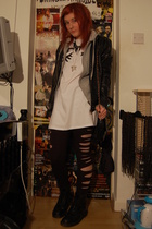 Topshop dress - h&m DIY slashes tights - dms shoes -  jacket -  purse