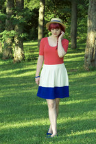 polka dot Forever 21 hat - color block Forever 21 skirt - Forever 21 bodysuit