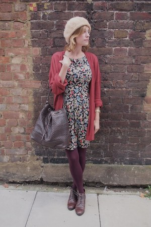 H&M cardigan - Kate Kanzier boots - Topshop dress - vintage hat - M&S tights
