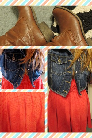 brown ankle booties Route 66 boots - salmon dress - navy denim Blue Asphalt vest