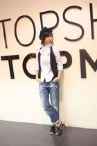 Zara blouse - Hong Kong vest - Nine West shoes - Topshop hat - Zara belt