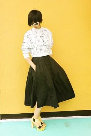 Joy & Peace shoes - H&M sweater - Prada sunglasses - from hong kong skirt