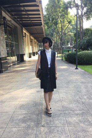 Zara shirt - Millies shoes - H&M hat - from hong kong bag - Zara vest