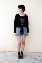from Seoul shirt - Dangerfield hat - from taiwan sweater - Monki wedges