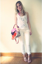 white Mango jeans - nude Reiss wedges - white Reiss for Elle UK vest - bubble gu