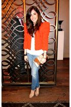 H&M garden collection jacket - Siwy jeans - YSL Tribute shoes - Maia N purse