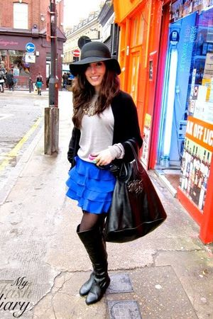 Topshop skirt - Office boots - Sonia Rykiel hat - Givenchy purse