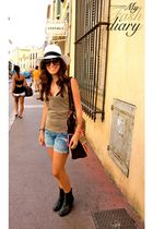 Kurt Geiger shoes - Vietnam bag - Saint Tropez hat - hollister shorts