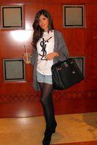 Wolford stockings - Wedge booties shoes - hermes birkin accessories - denim shor